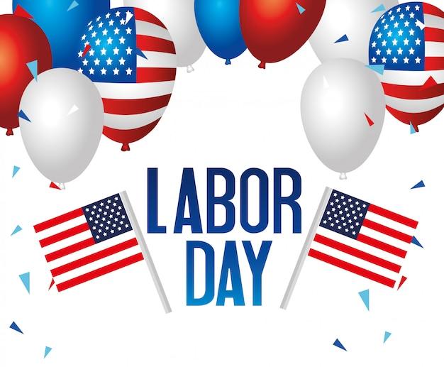 Gelukkige dag van de arbeid vakantie banner met nationale vlaggen en ballonnen helium van de verenigde staten