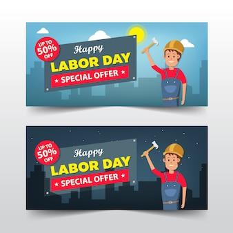 Gelukkige dag van de arbeid verkoop banner cartoon