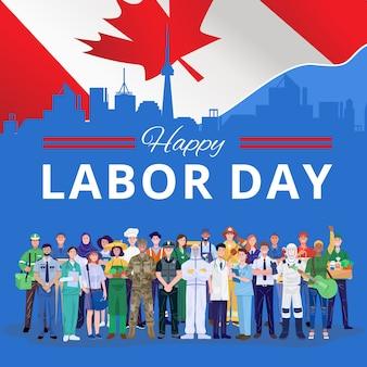 Gelukkige dag van de arbeid. verschillende beroepen mensen staan met de vlag van canada.