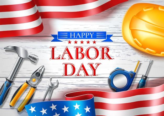 Gelukkige dag van de arbeid wenskaart voor nationale vakantie van de vs met realistische industriële gereedschappen op vlag