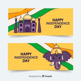Gelukkige dag van de onafhankelijkheid van india banners