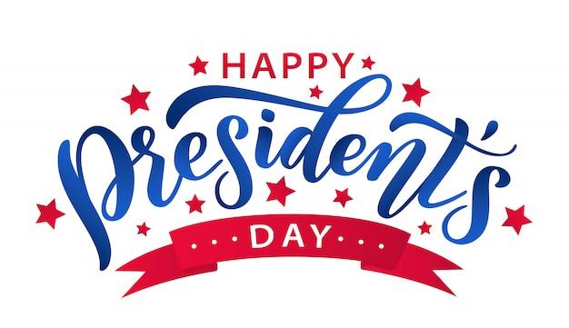Gelukkige dag van de voorzitters. belettering