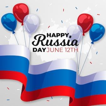 Gelukkige dag van rusland met vlag en ballonnen