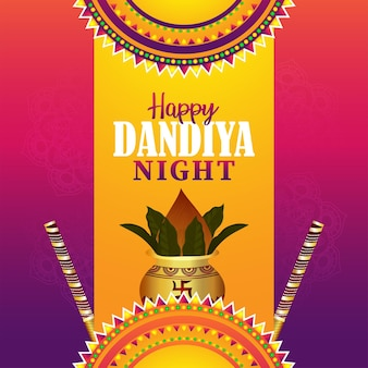 Gelukkige dandiya-nachtvieringskaart met creatieve kalash en dandiya-stick