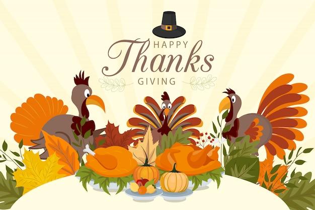 Gelukkige dankzeggingsachtergrond met groenten en kleurrijke bladeren.