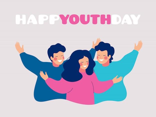 Gelukkige de groetkaart van de de jeugddag met glimlachende jonge mensen die elkaar koesteren