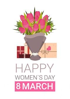 Gelukkige de groetkaart van de vrouwendag met giftdozen en boeket van tulpen