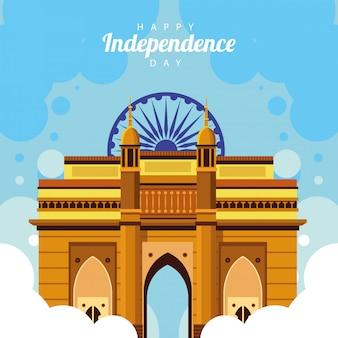 Gelukkige de onafhankelijkheidsdagvieringskaart van india met moskeetempel