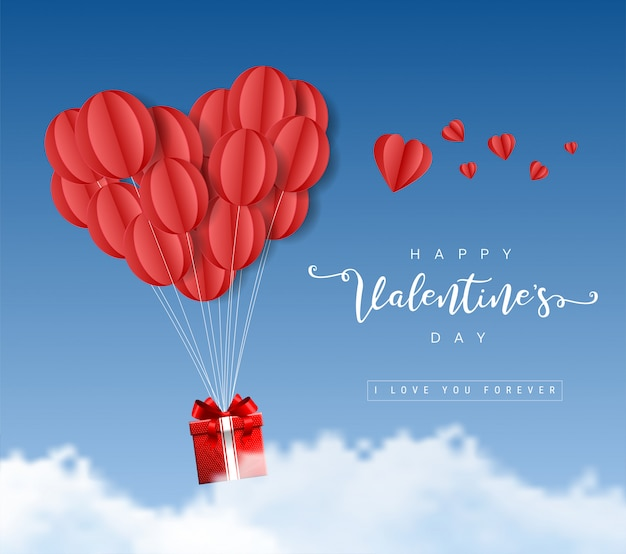 Gelukkige de origamidocument van de valentijnskaartendag ballonsharten met giftvakje en wolken op blauwe hemelillustratie