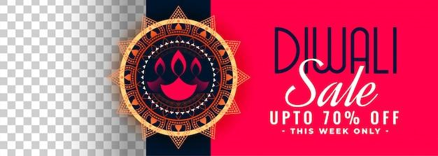 Gelukkige de verkoopbanner van het diwalifestival met beeldruimte