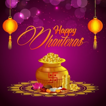 Gelukkige dhanteras, gelukkige diwali-vieringsachtergrond met diya en gouden muntstukpot