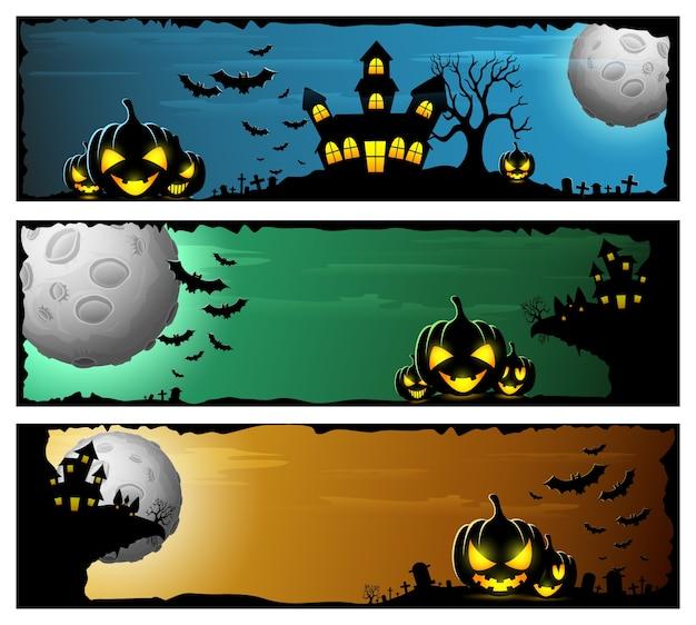 Gelukkige die halloween-banner met enge pompoenen en kasteel wordt geplaatst