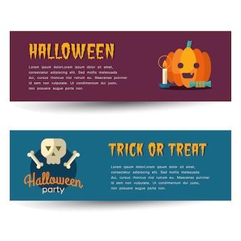 Gelukkige die halloween-banners met vlakke pictogrammen worden geplaatst