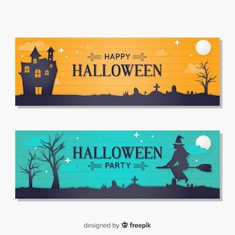 Gelukkige die halloween-partijbanner in vlak ontwerp wordt geplaatst