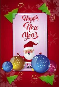 Gelukkige die nieuwjaarskaart met kerstboomballen en kerstman op rode achtergrond wordt verfraaid