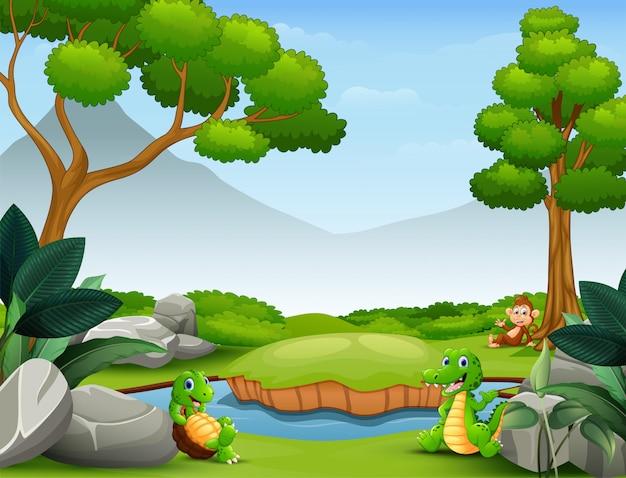 Gelukkige dieren die bij de rivier wonen