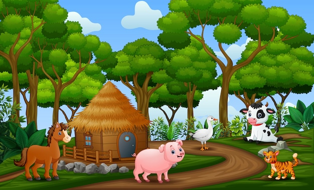 Gelukkige dieren genieten op landbouwgrond
