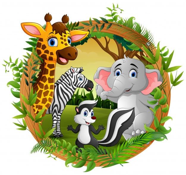 Gelukkige dieren in frame bos