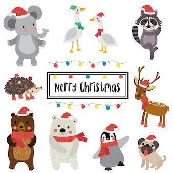 Gelukkige dieren vrolijke kerstmis