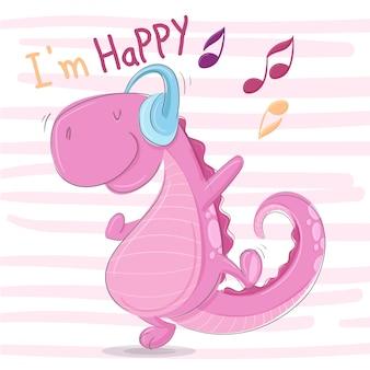 Gelukkige dino luistert muziek