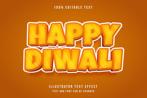 Gelukkige diwali, 3d bewerkbaar teksteffect gele gradatie oranje komische schaduwtekststijl