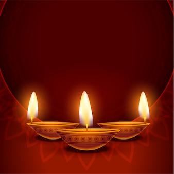 Gelukkige diwali-achtergrond met diya en tekstruimte