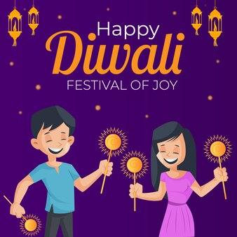 Gelukkige diwali-banner met jongen en meisje houdt fonkelingen in handen