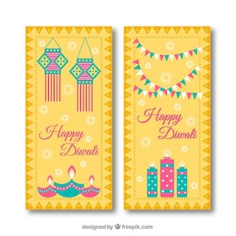 Gelukkige diwali banners met elementen in plat ontwerp
