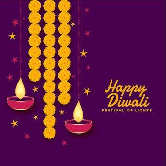 Gelukkige diwali-decoratie met goudsbloembloem