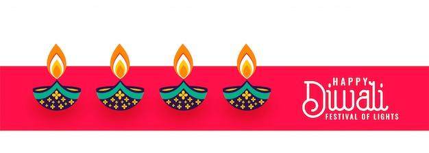 Gelukkige diwali decoratieve vier diya festivalbanner