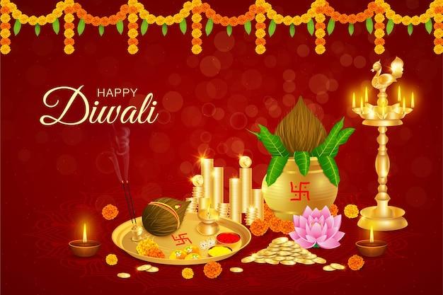 Gelukkige diwali, dhanteras, gouden munten, kalash, godin laxmi puja, rijkdom, welvaart