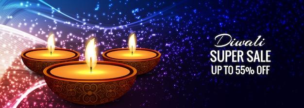 Gelukkige diwali diya olielamp festival header ontwerp