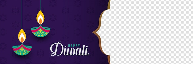 Gelukkige diwali festival banner met afbeelding ruimte