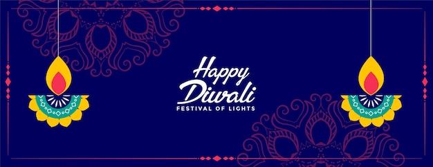 Gelukkige diwali festival decoratieve diya banner