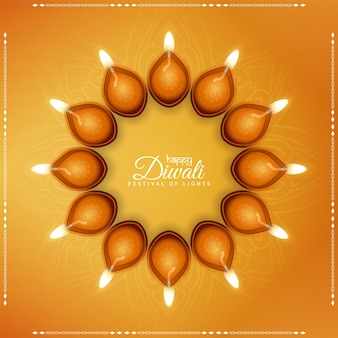 Gelukkige diwali-festival gele achtergrond met elegante lampen