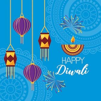 Gelukkige diwali festival poster plat