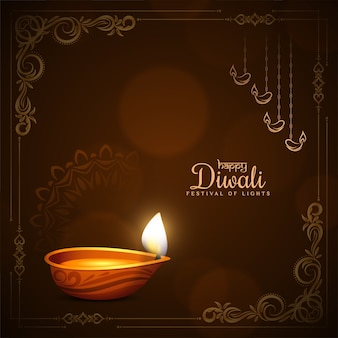 Gelukkige diwali festival stijlvolle frame achtergrond