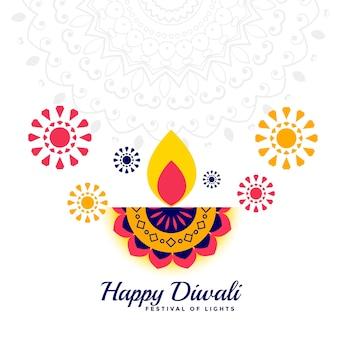 Gelukkige diwali festival vlakke stijl decoratieve achtergrond