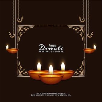 Gelukkige diwali festival zwarte wenskaart met frame en kaarsen