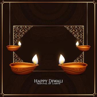 Gelukkige diwali-festivalachtergrond met gouden frame