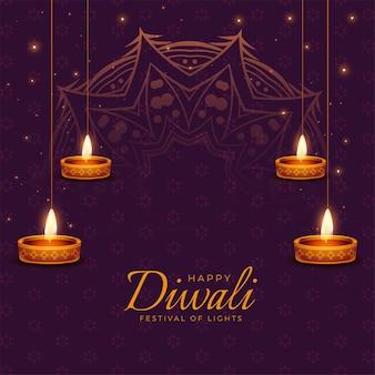 Gelukkige diwali-festivalkaart met gloeiende diya-olielampen