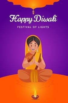 Gelukkige diwali-flyer en poster met vrouw aanbidt