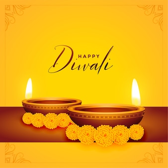 Gelukkige diwali gele achtergrond met diya en bloem