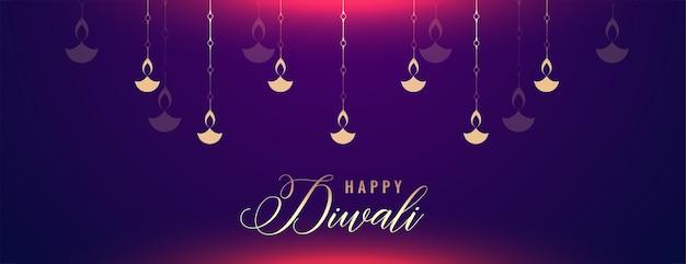 Gelukkige diwali glanzende banner met diya-decoratie