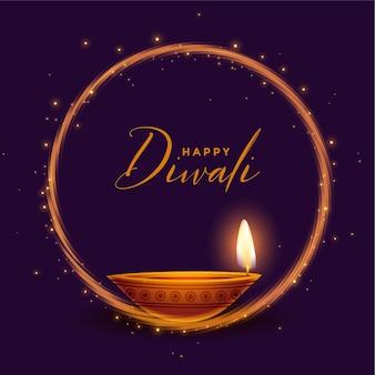 Gelukkige diwali glanzende festivalkaart met realistisch diya-ontwerp