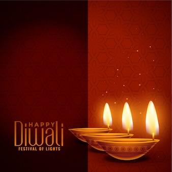 Gelukkige diwali gloeiende diya achtergrond met tekstruimte