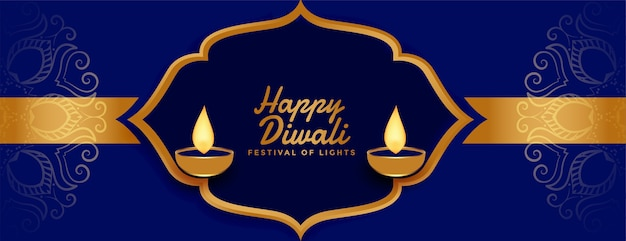 Gelukkige diwali gouden banner in indische stijldecoratie