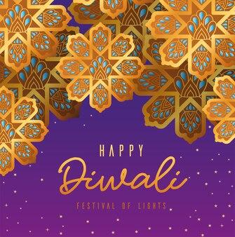 Gelukkige diwali gouden bloemen op paars ontwerp als achtergrond, festival van lichtenthema