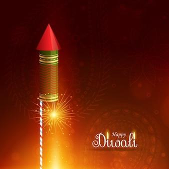 Gelukkige diwali groet achtergrond met vliegende raket cracker