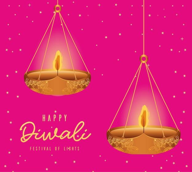 Gelukkige diwali hangende kaarsen op roze ontwerp als achtergrond, festival van lichtenthema.